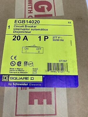 New Sqd Egb14020 Circuit Breaker 20 Amp 1-pole 277 V New In Box Square D