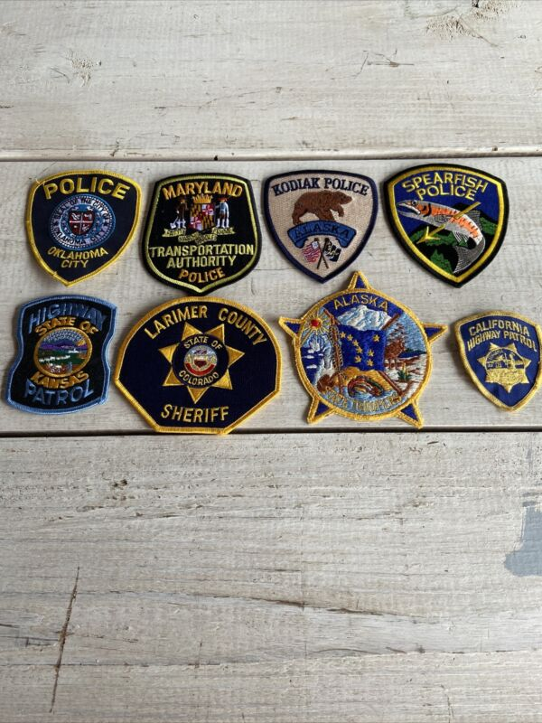 VTG Lot 8 Police Embroidered Patch Badge Highway Patrol State Troopers Sheriff