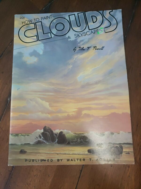 VINTAGE HOW TO PAINT CLOUDS & SKYSCAPES ART BOOK #206 WALTER FOSTER EUC