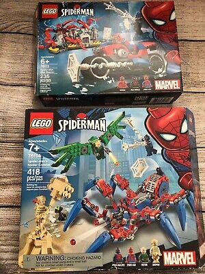 LEGO Marvel Spiderman 76113 & 76114 Spider Crawler Bike Rescue Open Box