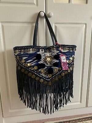 a41211f18f Ladies Blue Canvas Bag With Pompom, Tassels Mirrors, Beads And Medallions  BNWT