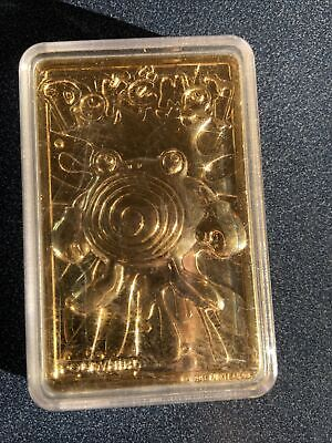 Pokemon 1999 NINTENDO Gold Plated- 23 Karat Poliwhirl Card METAL BAR + Case