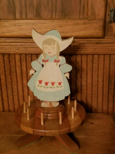 Vintage Antique Wooden Sewing Carousel Thread Spool Holder = Adorable Girl