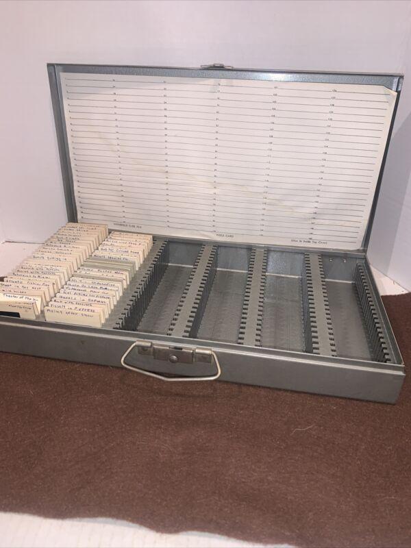 vintage Mansfield 35mm Slide File metal box tray case holder storage holds 150