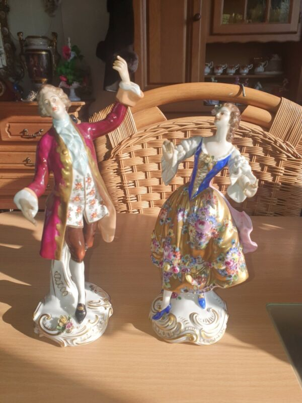 Antique German Dresden Volkstedt  Porcelain Figurine dance pair