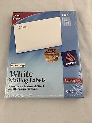8000 - Avery 5167 Laser Return Address Labels - 12 X 1 34 - New