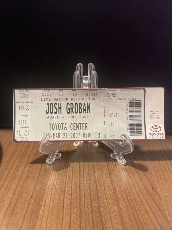 Josh Groban Concert Ticket Unused Rare & Vintage March 21 2007