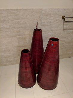 Red Gloss Reed Vases