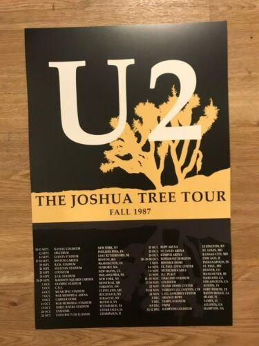 "U2 1987 Joshua Tree Tour Dates Cardstock Concert Poster  12"" x 18"""