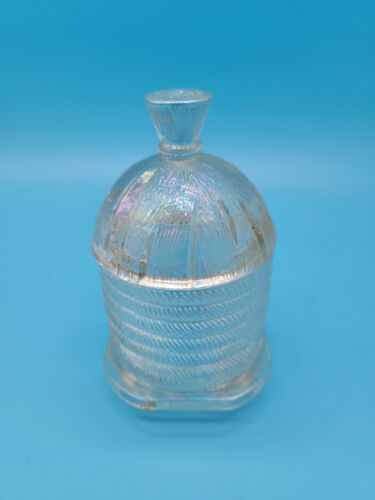 "Vintage Clear Iridescent Jelly Jar Honey Pot Depression Glass. 2.5"" 5"""