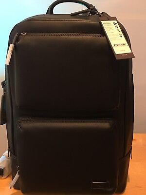 **NEW** Tumi Harrison Archer BLACK Leather Backpack Discontinued Rare