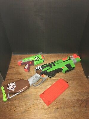Nerf Zombie Strike SlingFire with 18 Round Magazine and Sidestrike Blaster