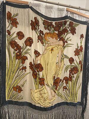 RARE Vintage Velvet Art Nouveau Scene Tapestry Fringe Shawl Twin's Armoire SF