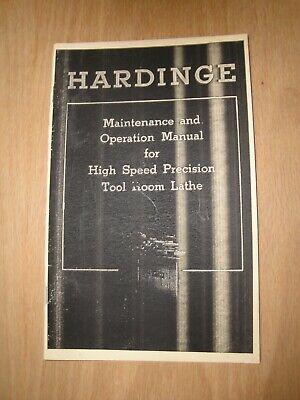 Hardinge High Speed Precision Tool Room Lathe Maintenance Operation Manual