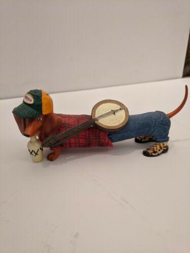 "Hot Diggity Dog Dachshund Weiner Dog figurine ""Banjo Redneck Moonshine"""