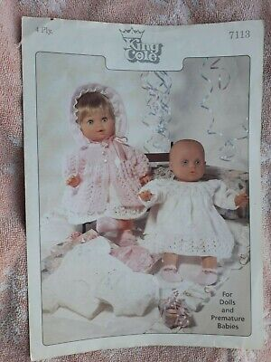 Vintage Dolls Clothes, Baby Doll Layette knitting pattern fits 12-22""