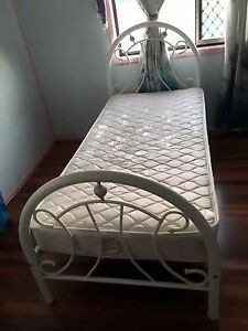 White with Gold Trim King Single Bed Frame & Mattress Richlands Brisbane South West Preview