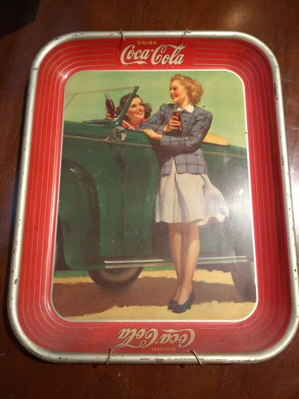 NICE!! Vintage 1942 Two Girls at Car Coca-Cola Tin Lithograph Coke Serving Tray