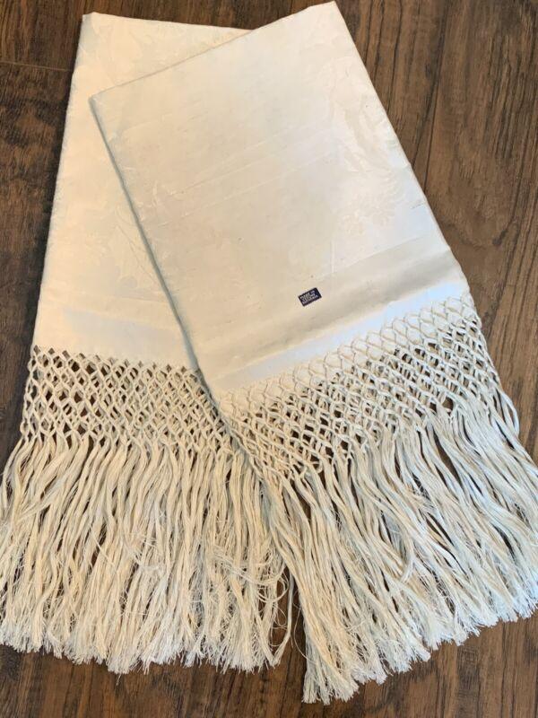 Pair Vintage Large Linen Damask Towels Unused Czechoslovakia