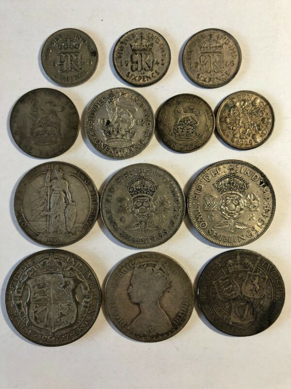 Lot 13 old rare Great Britain Silver Coins 1872 Florin Half Crown 1 & 2 Shilling