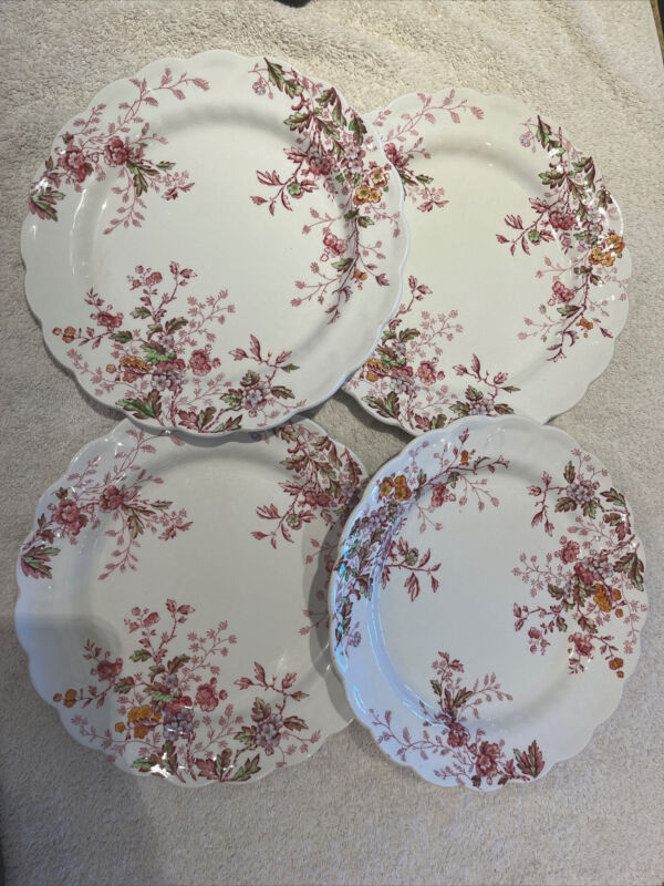 """BOOTHS ANTIQUE PLATE MADE IN ENGLAND, WASHINGTON 10.5""""  scalloped pink floral"""