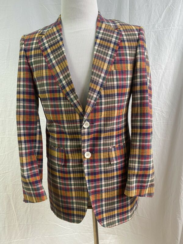 VINTAGE 50s/Early 60s  Madras Plaid Two Button Sport Coat Jacket 38S