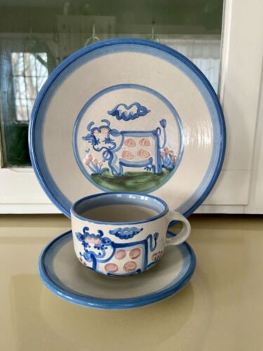 """M A Hadley Pottery Country Cow 9"""" Dinner Plate with Cow Cup & Saucer"""