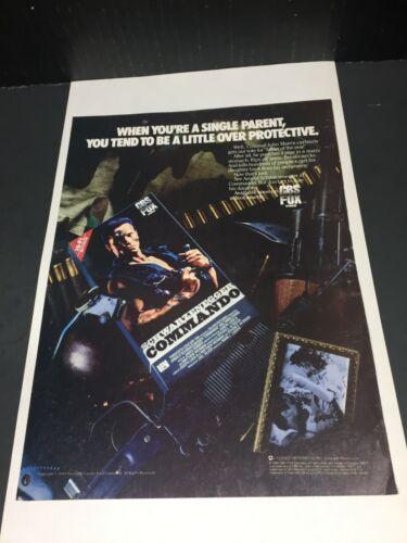 "Vintage 1985 COMMANDO Arnold Schwarzenegger Home Video poster Print AD 11"""
