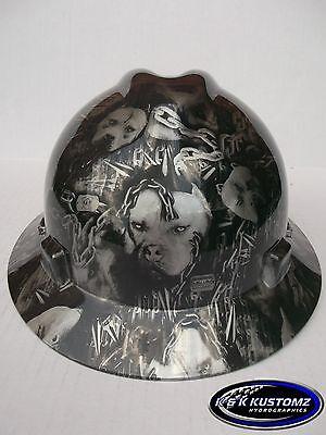 American Bully Full Brim New Custom Msa V Gard Hard Hat W Fas Trac Ratchet