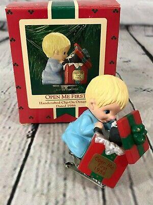"Rare 1986 HALLMARK ""Open me First"" Clip on Christmas Ornament in Box"