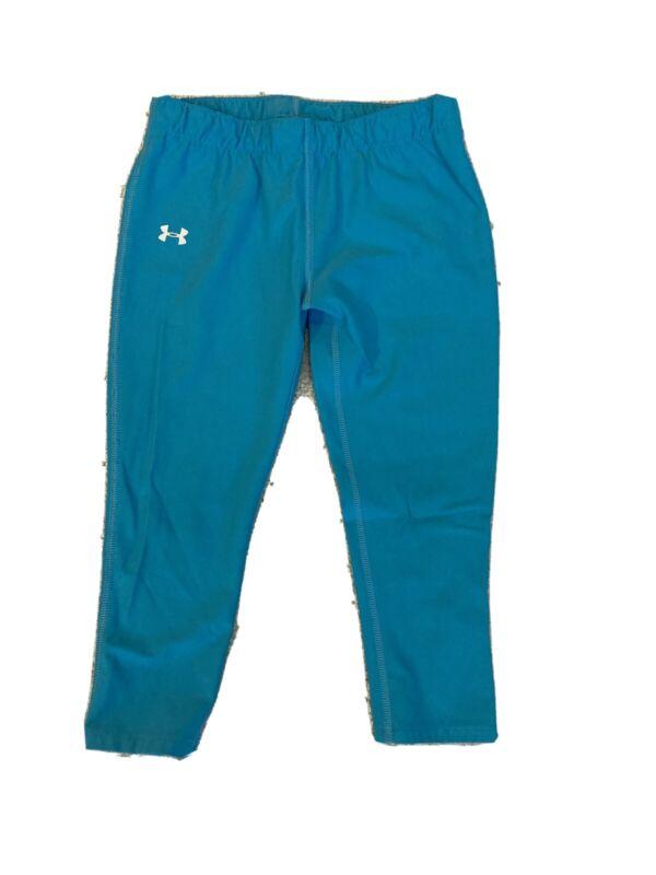 Girls Under Armour Aqua Blue Leggings Size Medium 10/12 Capri Length