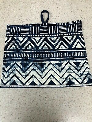 Pot Holder / Loop to Hang - Navy Blue & Ivory Design - Ready for Summer BBQ!