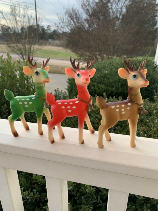 Vintage set lot 3 rubber reindeer rhinestone eyes Japan red green brown Amazing