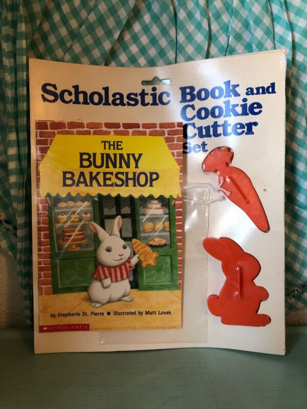 Vintage Scholastic Book and Cookie Cutter Set The Bunny Bakeshop Easter Sunday