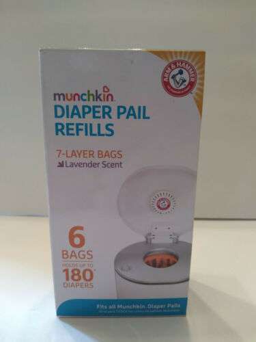 Arm & Hammer Munchkin Diaper Pail Lavender Scent Refill Bags 6 Count 180 Diapers