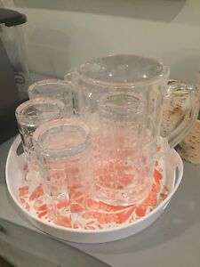 Bowring juice jug and cup platter set