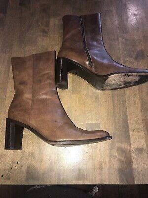 Banana Republic Brown Boots Block High Heel Shoes Side Zipper Women's Size 7.5 M