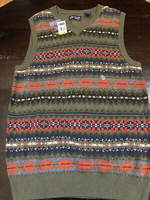 Chaps Ralph Lauren Knit Sweater Vest Mens V-Neck Green Sleeveless Small