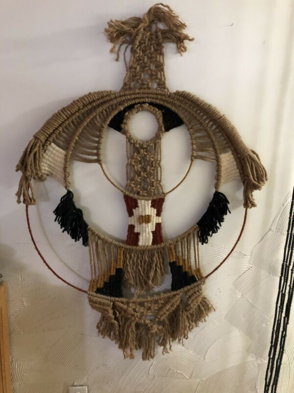 1970's vintage Earthy cocentric Macrame fiber arts wall hanging decor