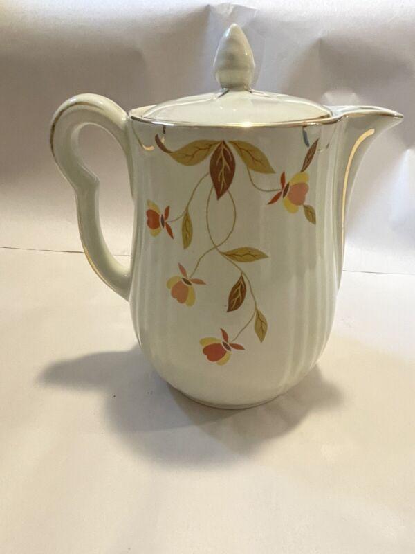 Vintage Autumn Leaf Hall China Jewel Tea 8 Cup Rayed Coffee Pot & Lid RETIRED