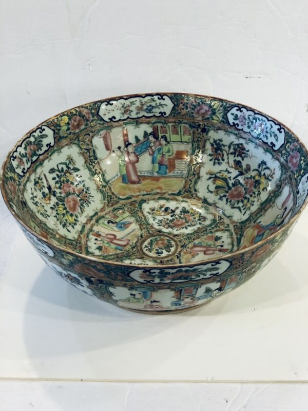 Antique Chinese Canton Famille Rose Punch Bowl