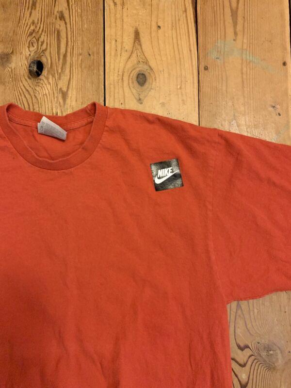 Vintage 90s Men's Nike Logo Swoosh ACE T-Shirt Medium Red Tee