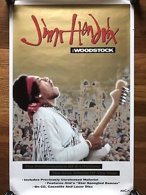 Jimi Hendrix Woodstock RARE Original promo Poster '94