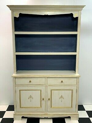 Antique style painted tall dresser bookcase sideboard display cabinet unit rack