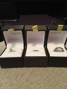 Engagement ring, male and female wedding bands
