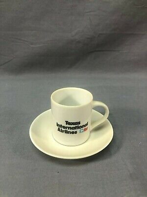 Vintage Texas International Airlines Espresso Cup and Saucer Coffee Cup J552