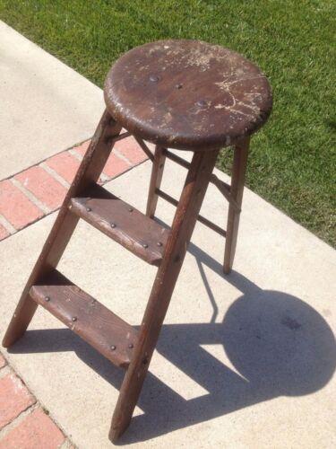 Vintage Wood Stool Ladder Round Top