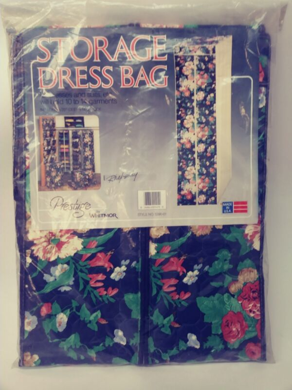 Vintage Whitmor Prestige Floral Storage Dress Bag USA New