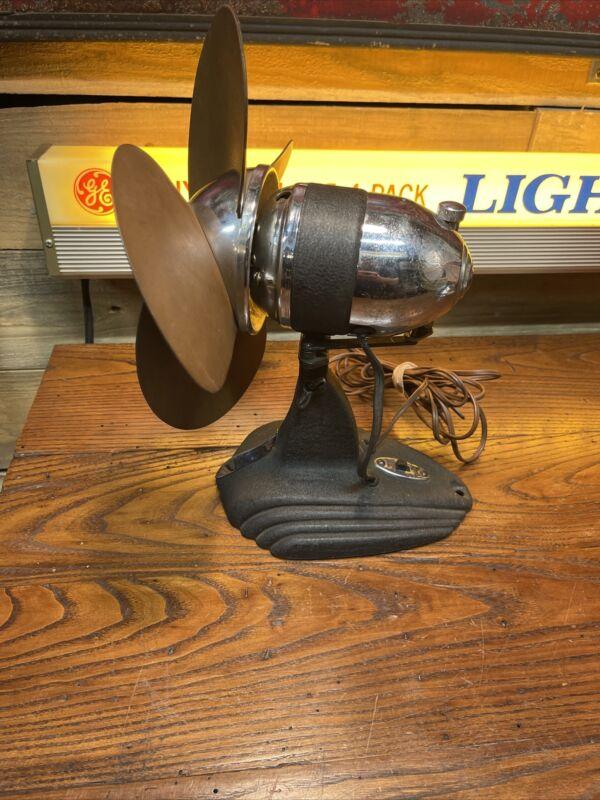 """Vintage Art Deco Rubber Blade Electric Fan Safety Fan Oscillates 10"""""""
