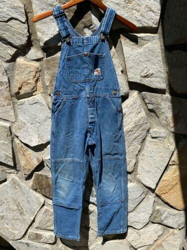 Carhartt Denim Double Knee Bib Overalls Boys Girls Blue Jeans 27x24 - EUC